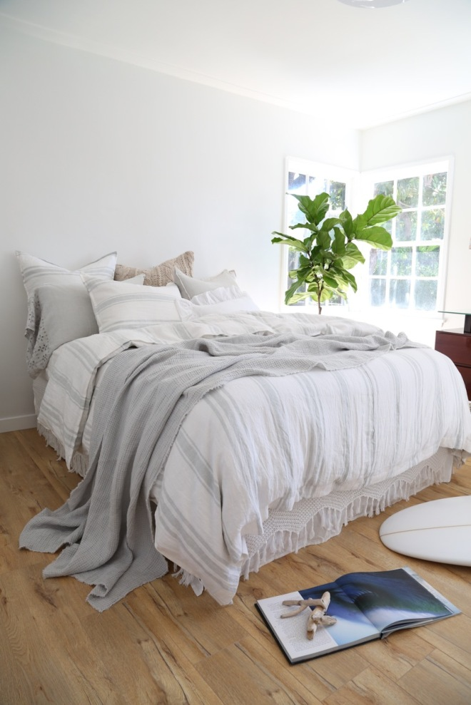 The striped Jackson bedding collection in a new color